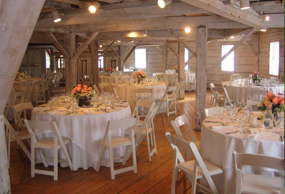 A barn wedding set up